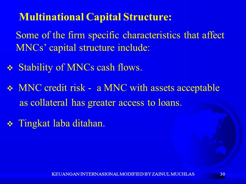 Multinational Capital Structure: