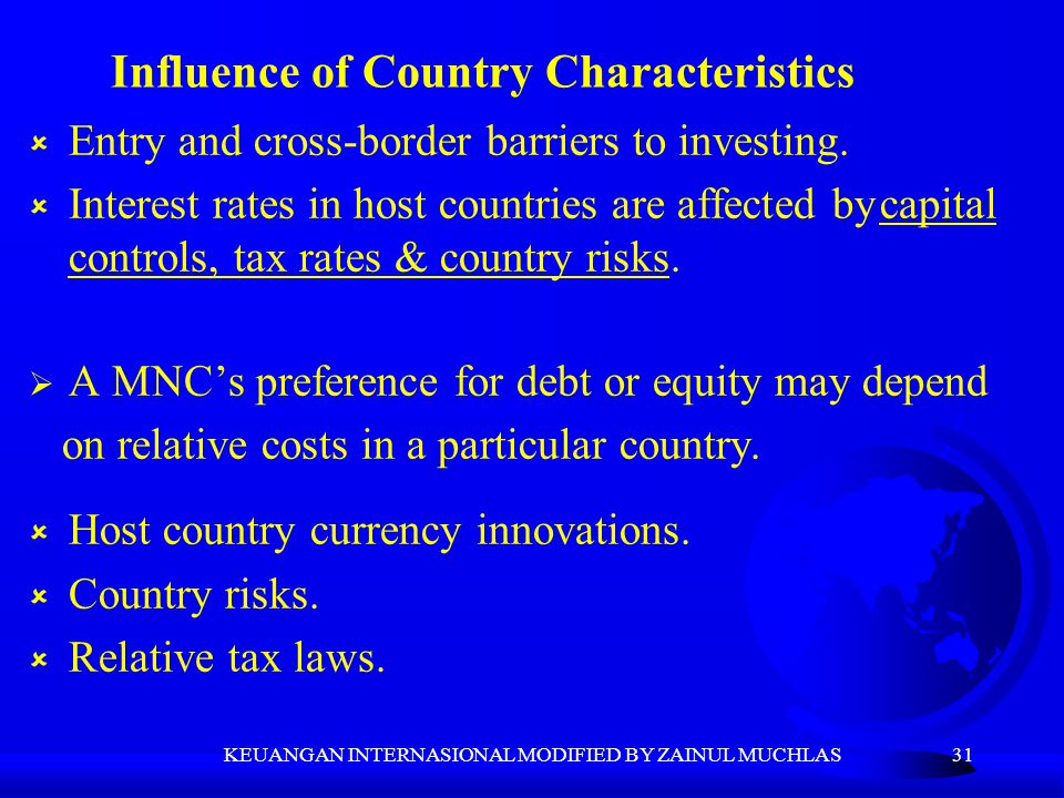 Influence of Country Characteristics
