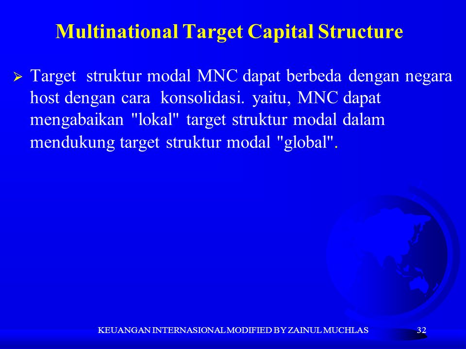 Multinational Target Capital Structure