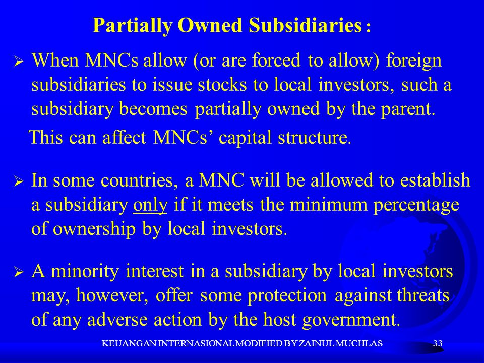 Partially Owned Subsidiaries :