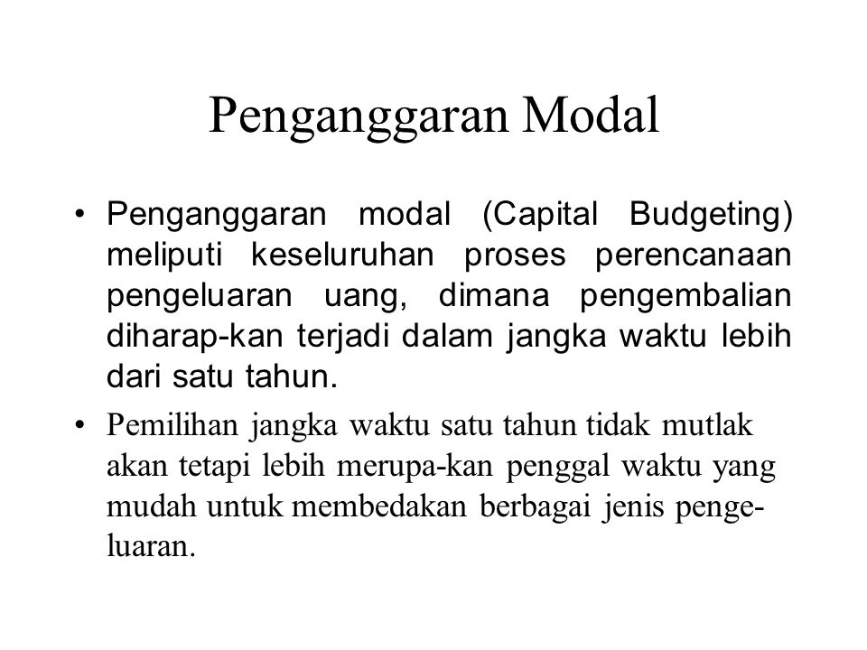 Penganggaran Modal