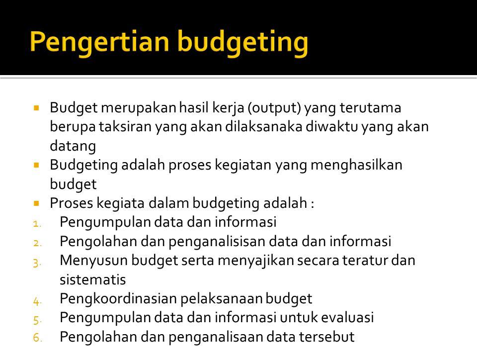 Pengertian budgeting Budget merupakan hasil kerja (output) yang terutama berupa taksiran yang akan dilaksanaka diwaktu yang akan datang.