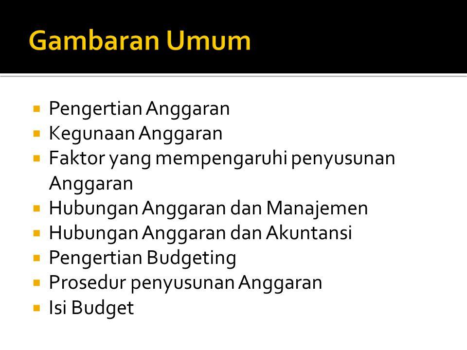 Gambaran Umum Pengertian Anggaran Kegunaan Anggaran