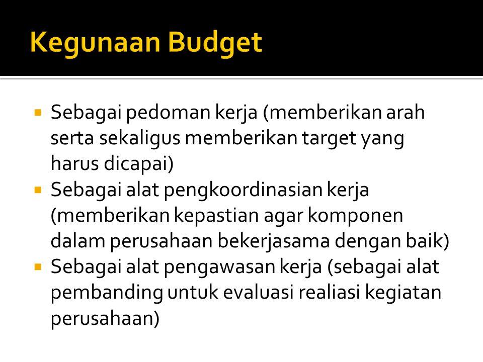 Kegunaan Budget Sebagai pedoman kerja (memberikan arah serta sekaligus memberikan target yang harus dicapai)