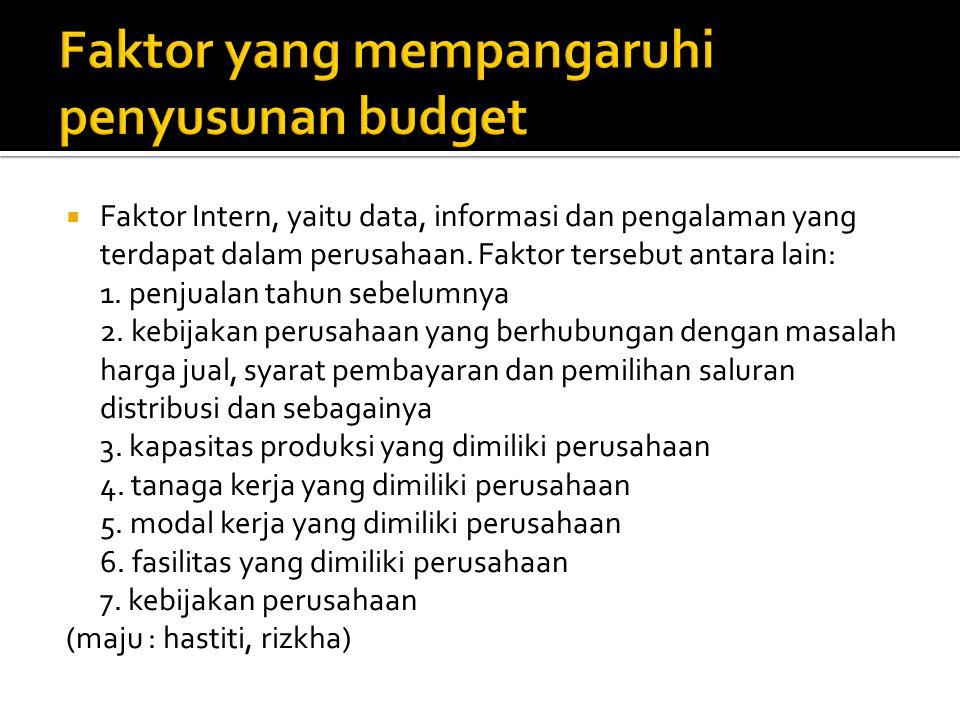 Faktor yang mempangaruhi penyusunan budget