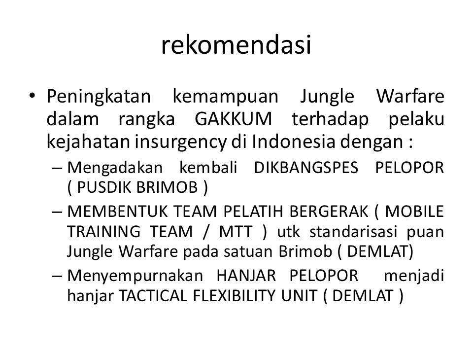 rekomendasi Peningkatan kemampuan Jungle Warfare dalam rangka GAKKUM terhadap pelaku kejahatan insurgency di Indonesia dengan :