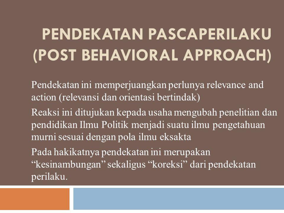 Pendekatan Pascaperilaku (Post Behavioral Approach)