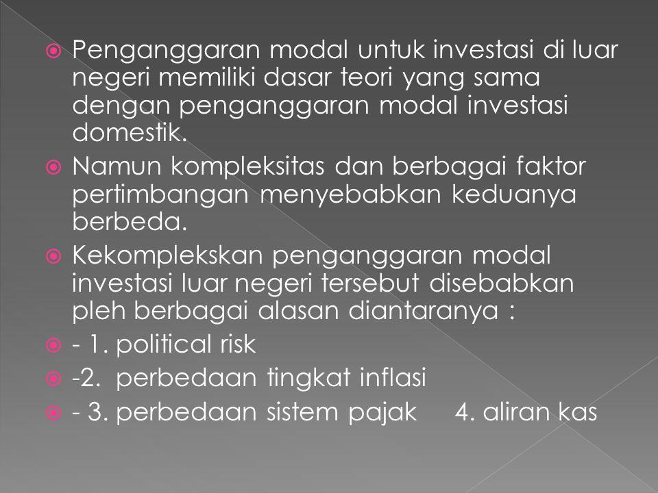 Penganggaran modal untuk investasi di luar negeri memiliki dasar teori yang sama dengan penganggaran modal investasi domestik.
