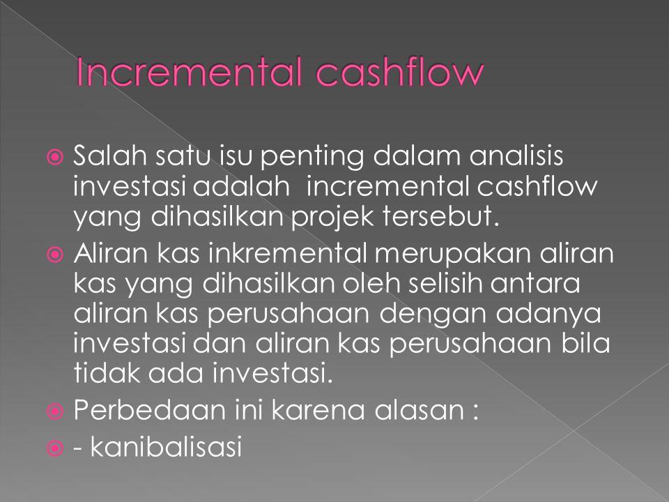 Incremental cashflow Salah satu isu penting dalam analisis investasi adalah incremental cashflow yang dihasilkan projek tersebut.