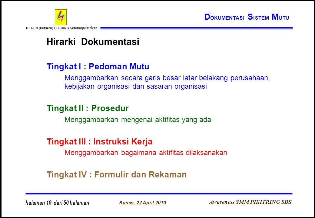 Hirarki Dokumentasi DOKUMENTASI SISTEM MUTU Tingkat I : Pedoman Mutu
