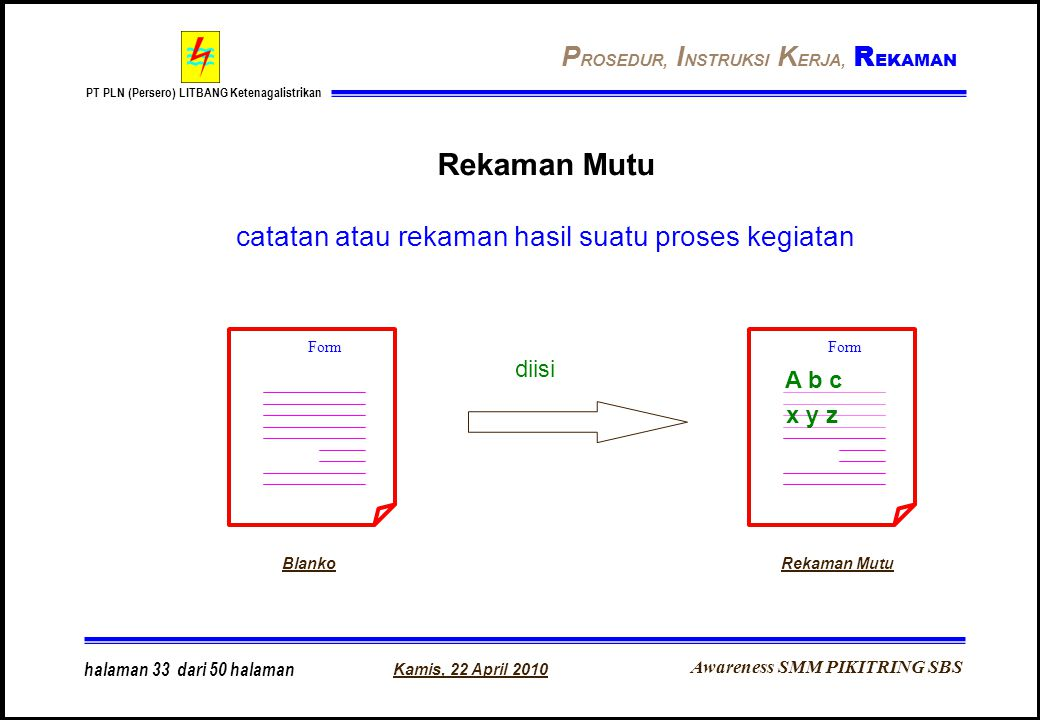 Rekaman Mutu catatan atau rekaman hasil suatu proses kegiatan