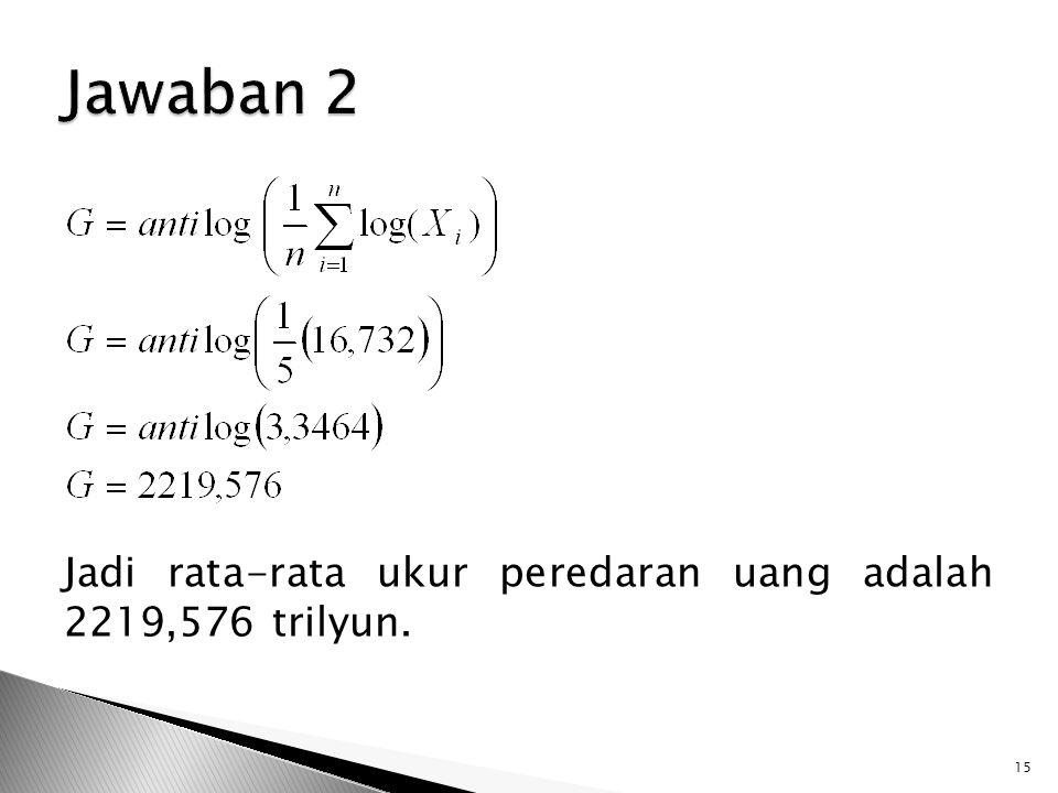 Jawaban 2 Jadi rata-rata ukur peredaran uang adalah 2219,576 trilyun.