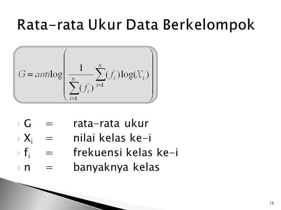 Rata-rata Ukur Data Berkelompok