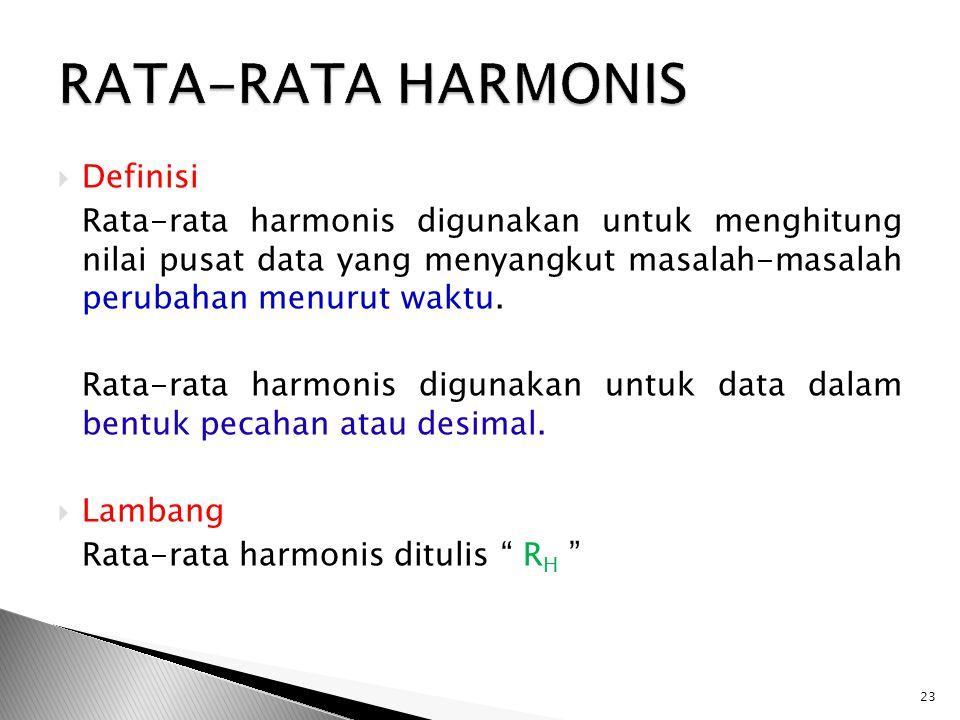 RATA-RATA HARMONIS Definisi