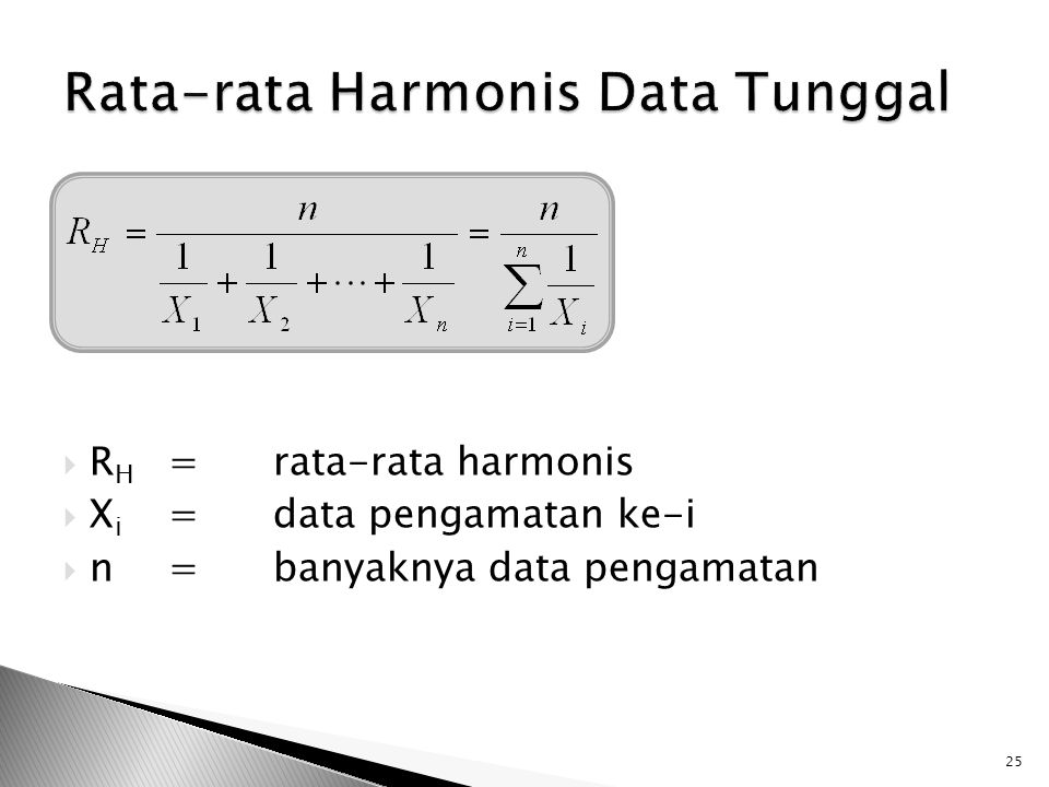 Rata-rata Harmonis Data Tunggal