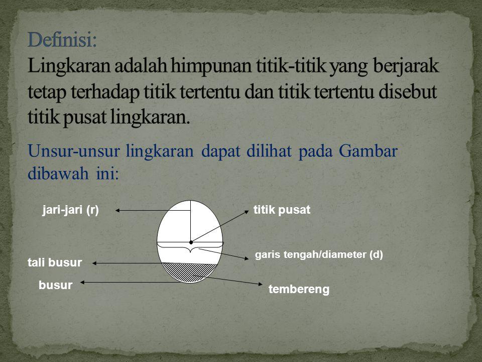 Definisi: Lingkaran adalah himpunan titik-titik yang berjarak tetap terhadap titik tertentu dan titik tertentu disebut titik pusat lingkaran.