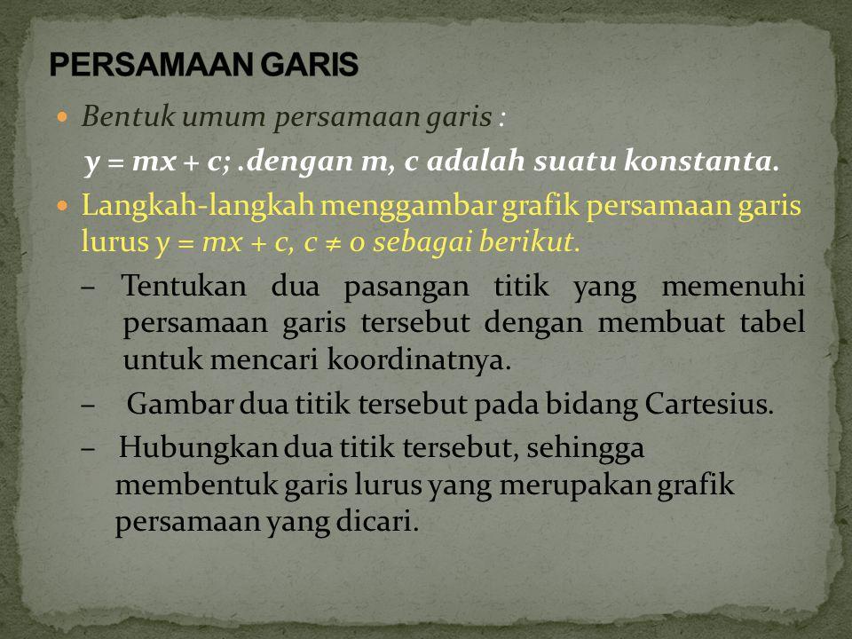 PERSAMAAN GARIS Bentuk umum persamaan garis :