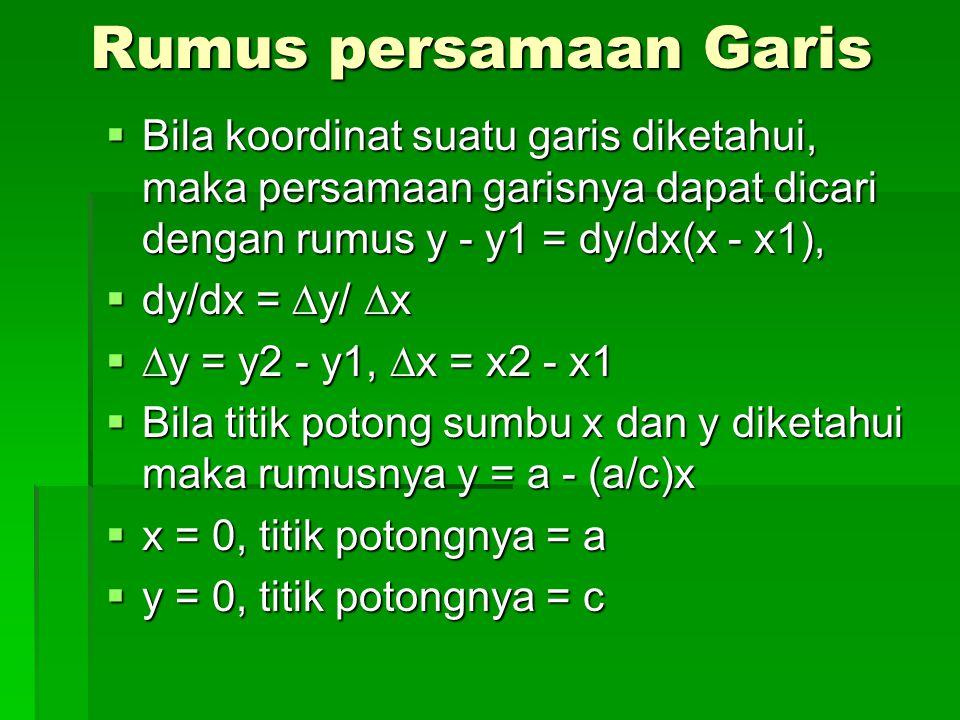 Rumus persamaan Garis Bila koordinat suatu garis diketahui, maka persamaan garisnya dapat dicari dengan rumus y - y1 = dy/dx(x - x1),