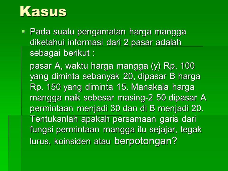 Kasus Pada suatu pengamatan harga mangga diketahui informasi dari 2 pasar adalah sebagai berikut :