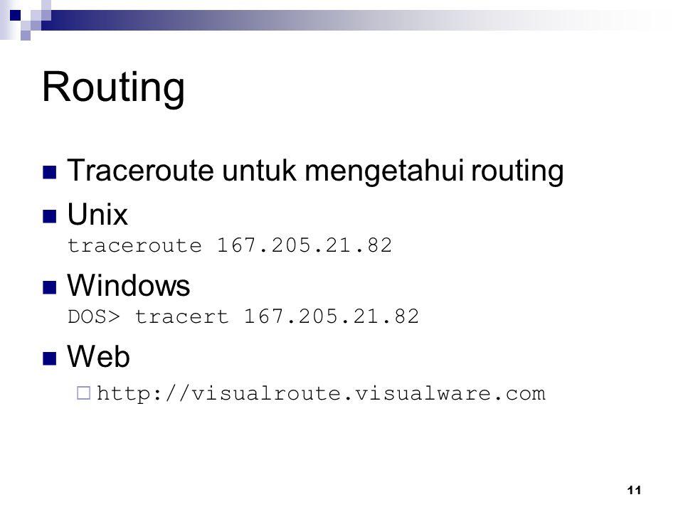Routing Traceroute untuk mengetahui routing