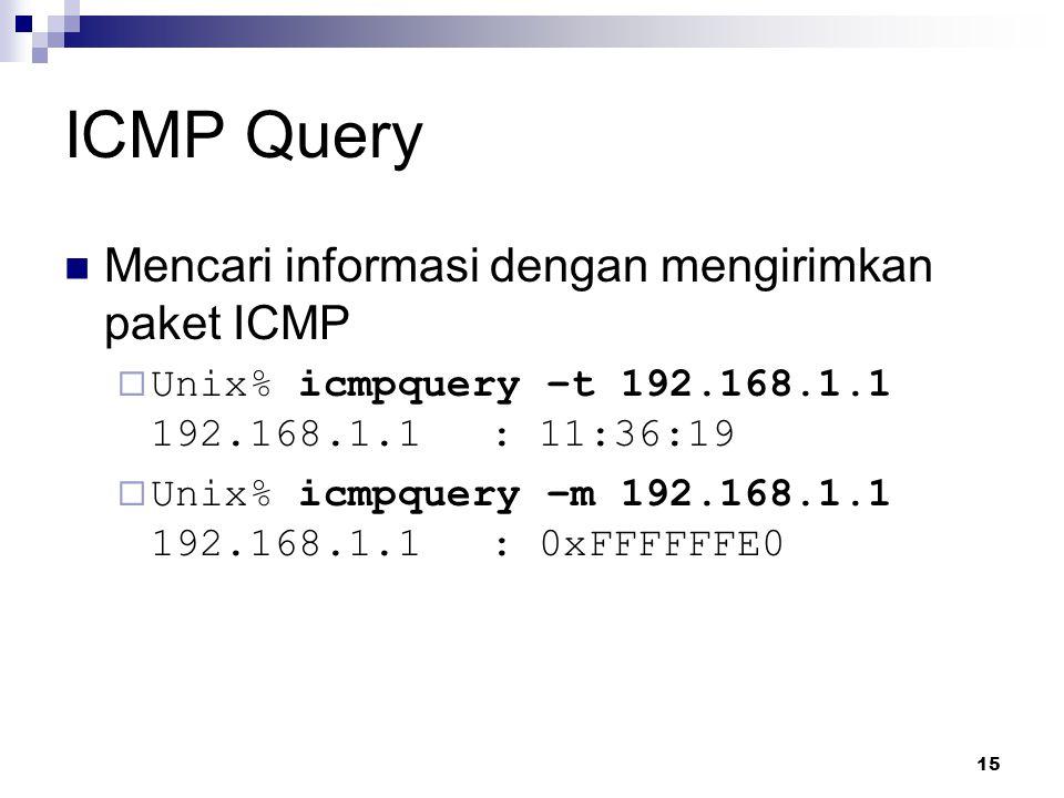 ICMP Query Mencari informasi dengan mengirimkan paket ICMP