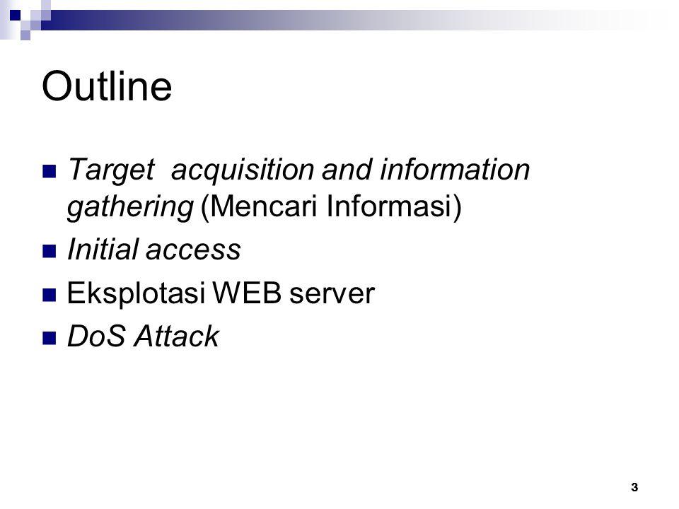 Outline Target acquisition and information gathering (Mencari Informasi) Initial access. Eksplotasi WEB server.