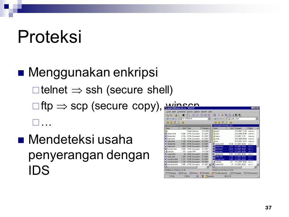 Proteksi Menggunakan enkripsi Mendeteksi usaha penyerangan dengan IDS