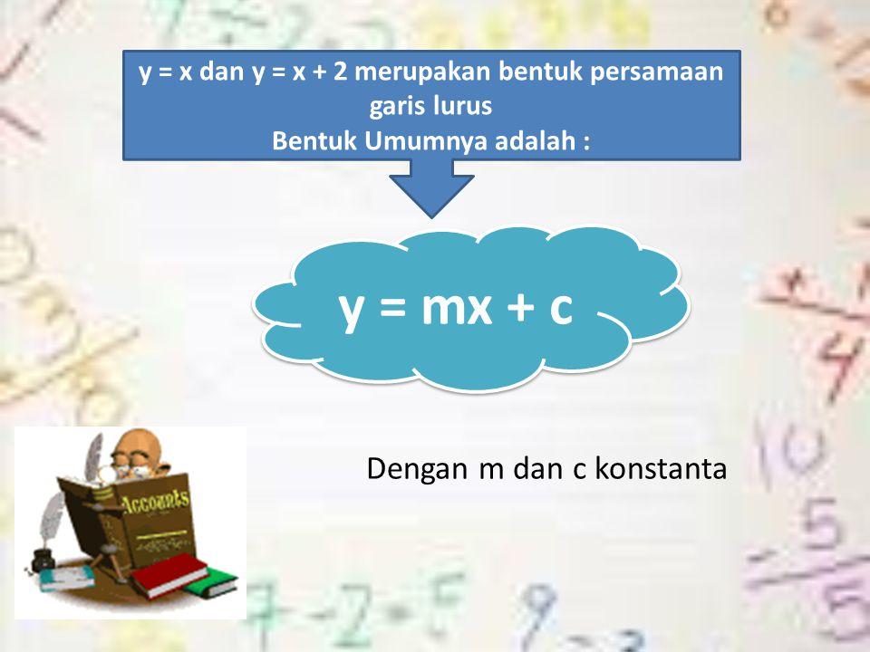 Dengan m dan c konstanta