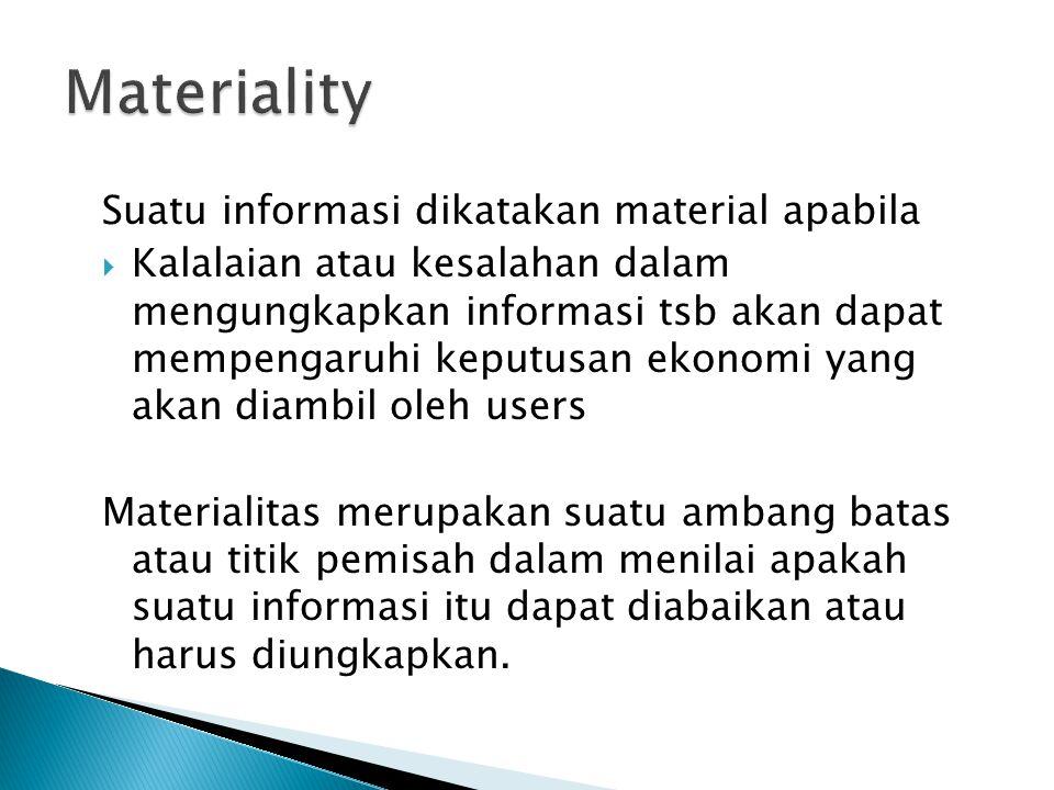 Materiality Suatu informasi dikatakan material apabila