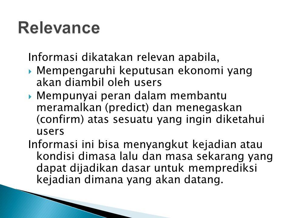 Relevance Informasi dikatakan relevan apabila,