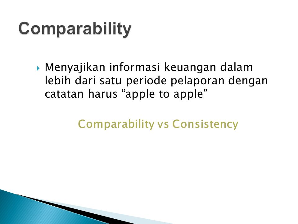 Comparability vs Consistency