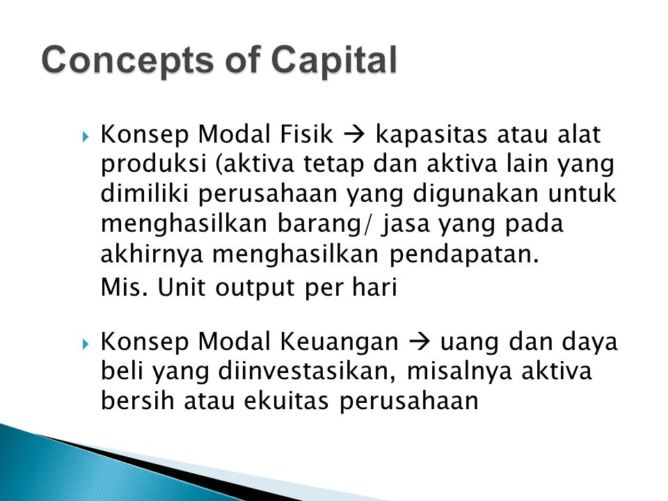 Concepts of Capital