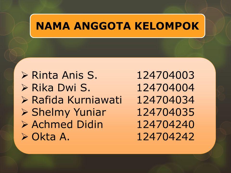 NAMA ANGGOTA KELOMPOK Rinta Anis S. 124704003. Rika Dwi S. 124704004. Rafida Kurniawati 124704034.