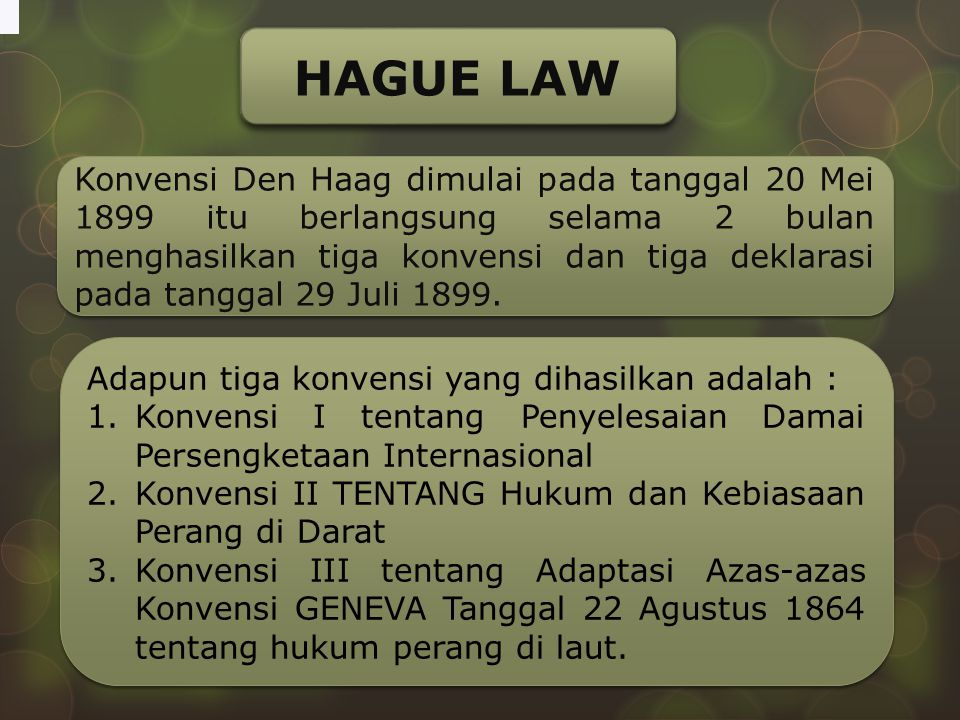 HAGUE LAW