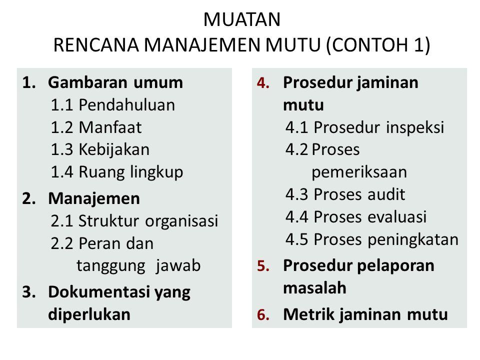 MUATAN RENCANA MANAJEMEN MUTU (CONTOH 1)