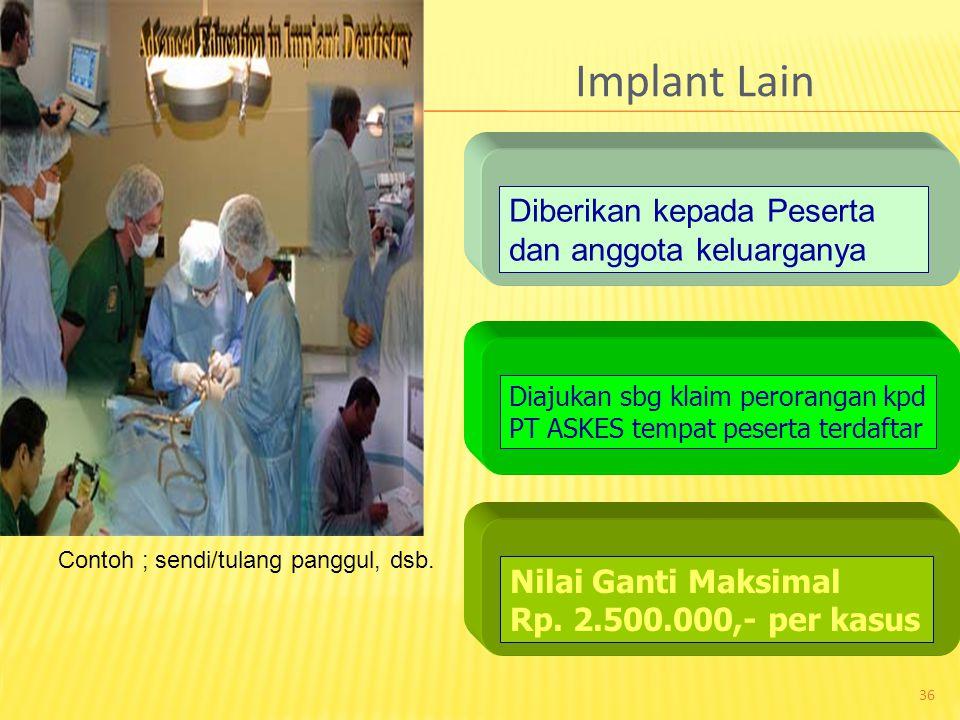 Implant Lain Diberikan kepada Peserta dan anggota keluarganya