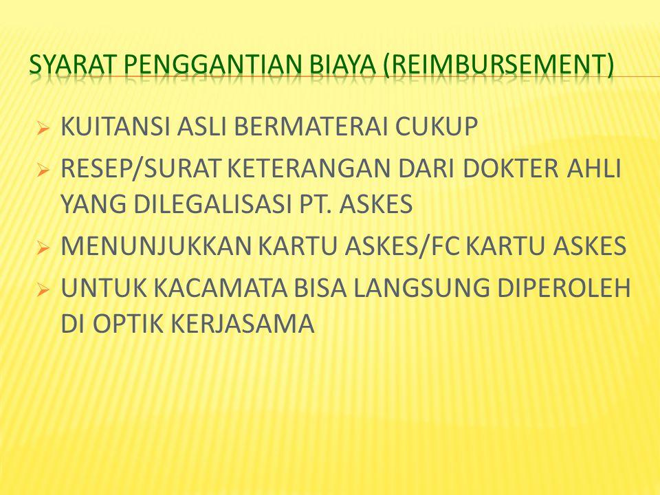 SYARAT PENGGANTIAN BIAYA (Reimbursement)
