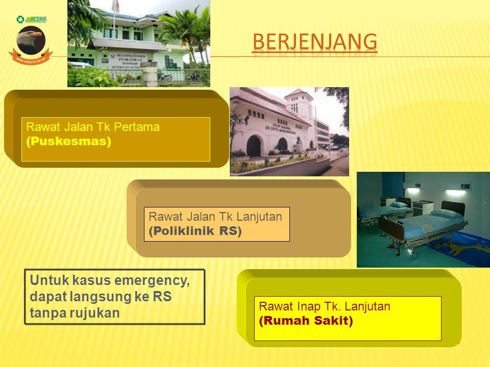 Berjenjang Untuk kasus emergency, dapat langsung ke RS tanpa rujukan