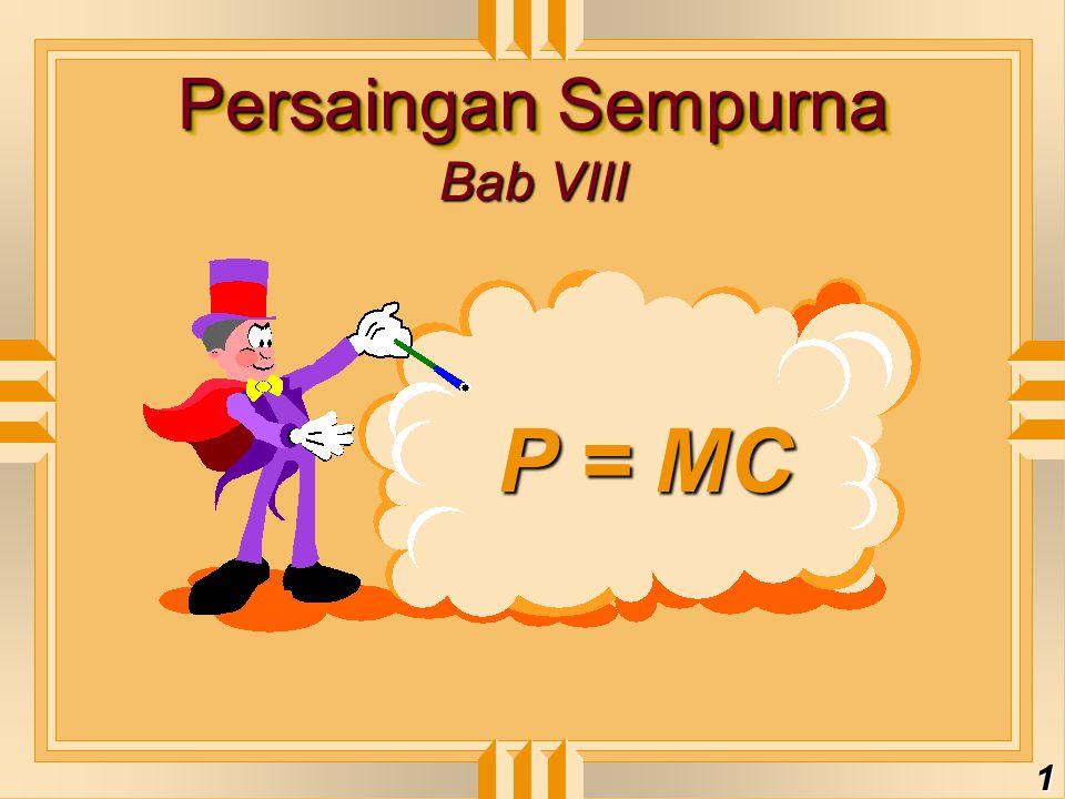 Persaingan Sempurna Bab VIII P = MC