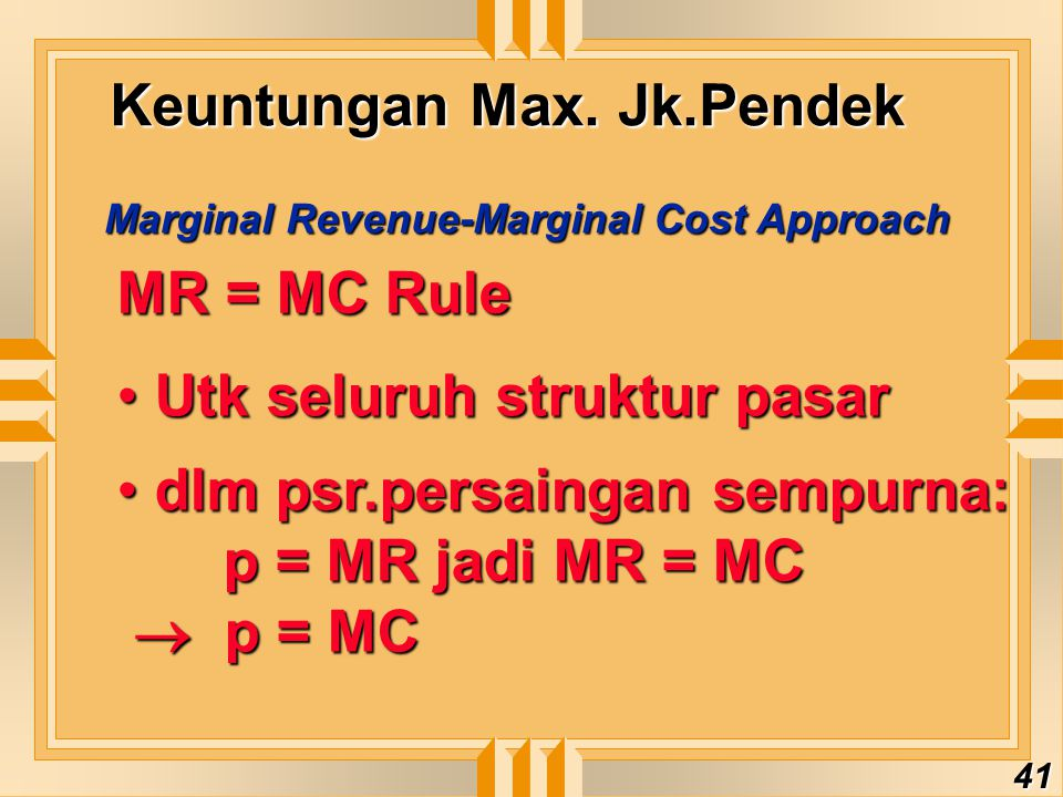 Keuntungan Max. Jk.Pendek