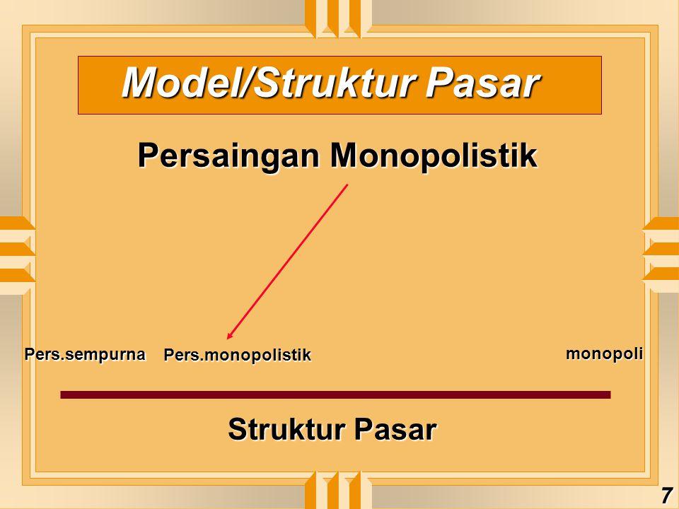 Model/Struktur Pasar Persaingan Monopolistik Struktur Pasar