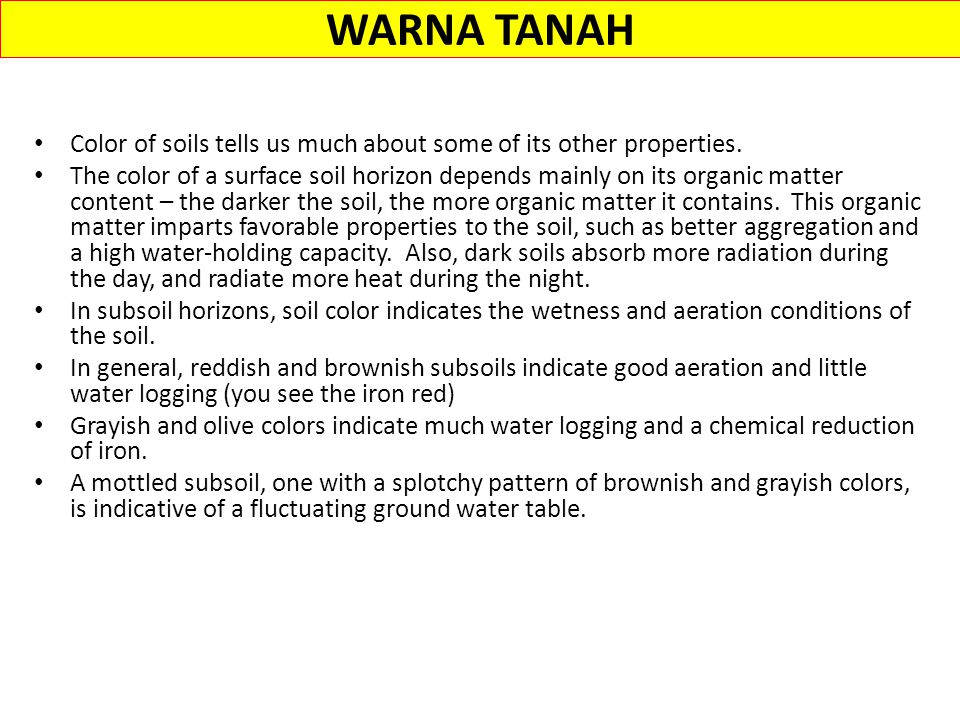 WARNA TANAH Color of soils tells us much about some of its other properties.