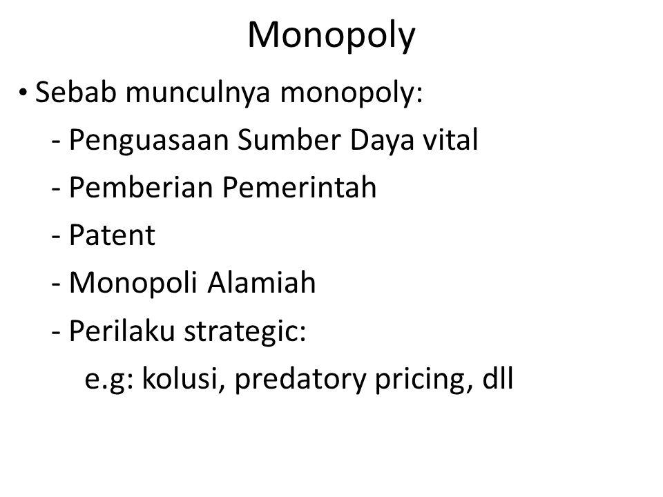 Monopoly - Penguasaan Sumber Daya vital - Pemberian Pemerintah