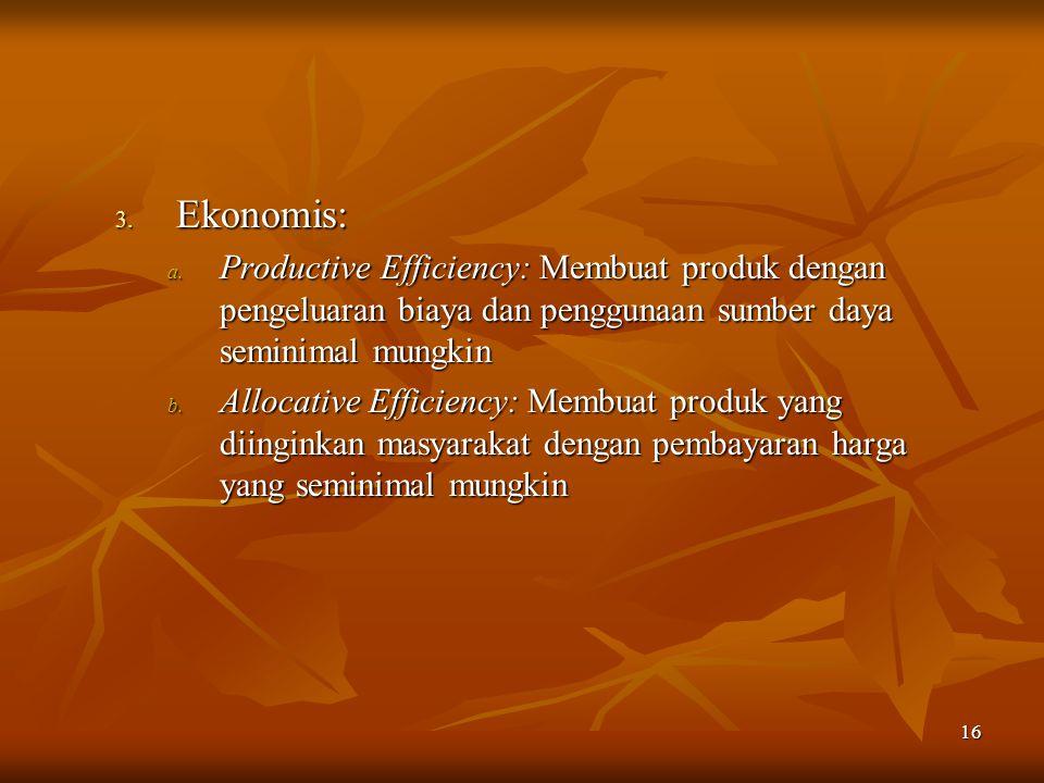 Ekonomis: Productive Efficiency: Membuat produk dengan pengeluaran biaya dan penggunaan sumber daya seminimal mungkin.