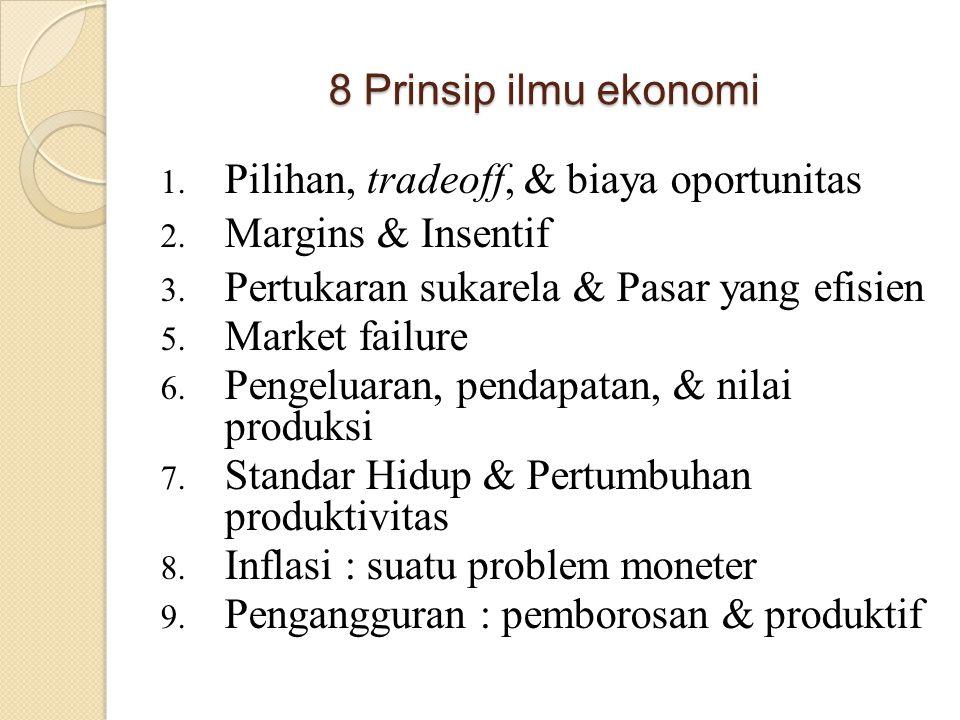 8 Prinsip ilmu ekonomi Pilihan, tradeoff, & biaya oportunitas. Margins & Insentif. Pertukaran sukarela & Pasar yang efisien.