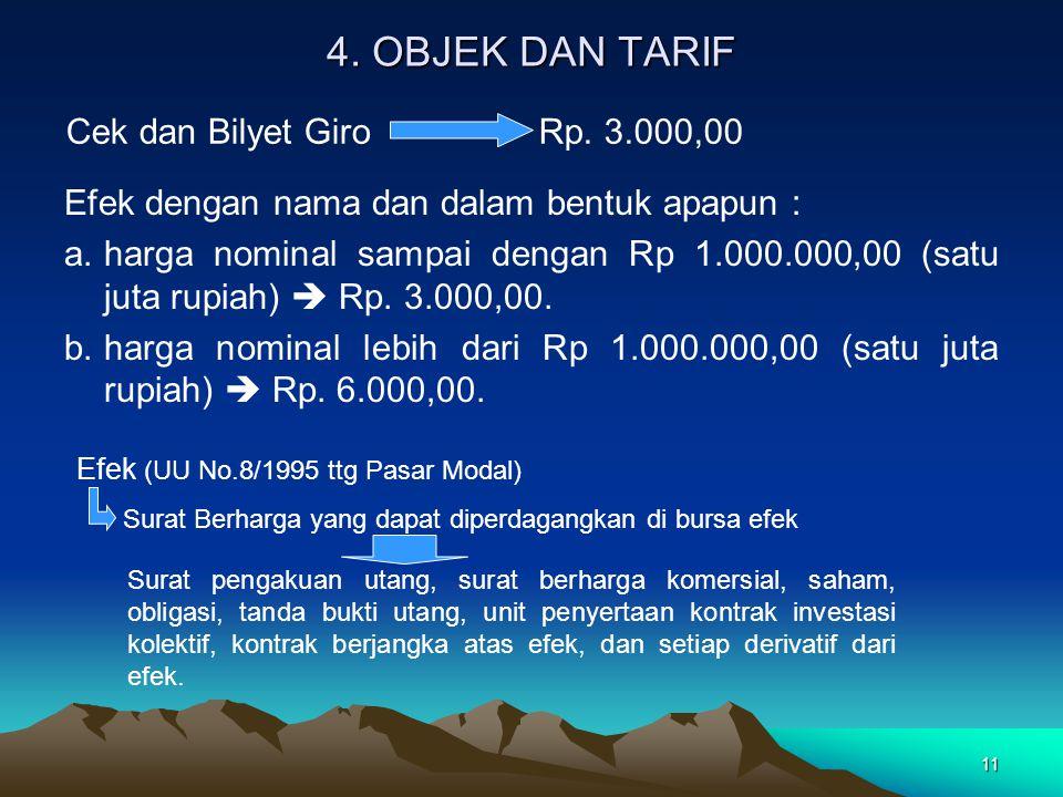 4. OBJEK DAN TARIF Cek dan Bilyet Giro Rp. 3.000,00