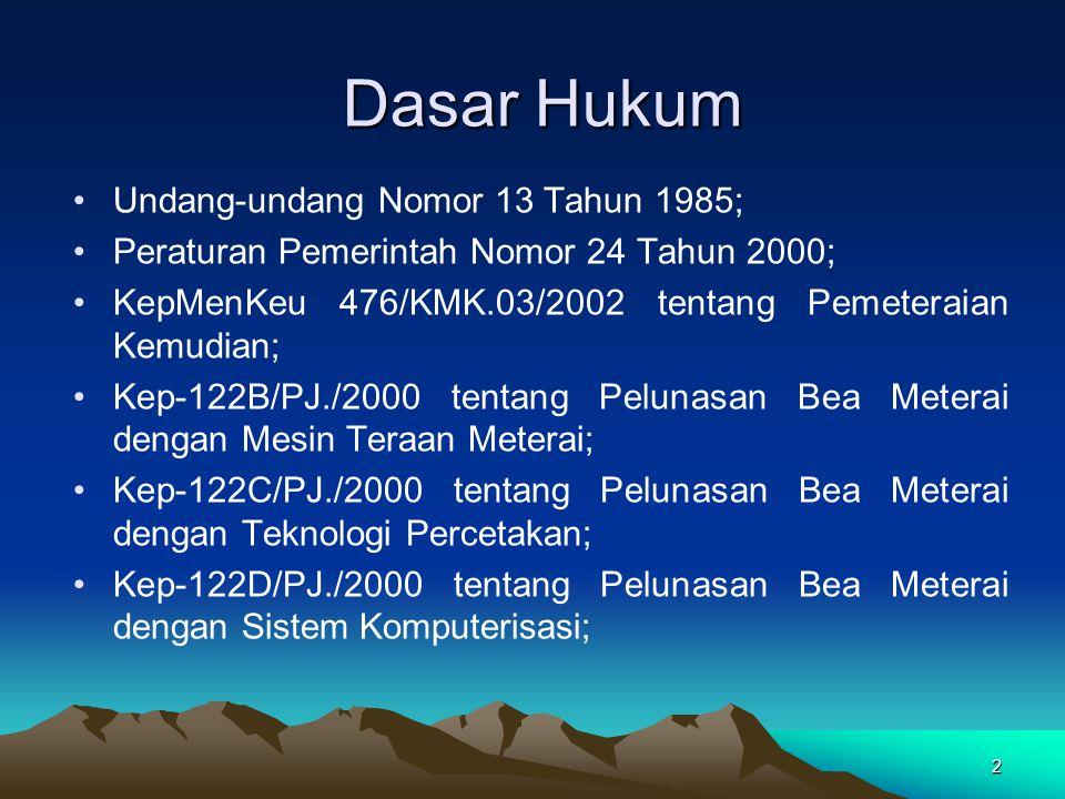 Dasar Hukum Undang-undang Nomor 13 Tahun 1985;