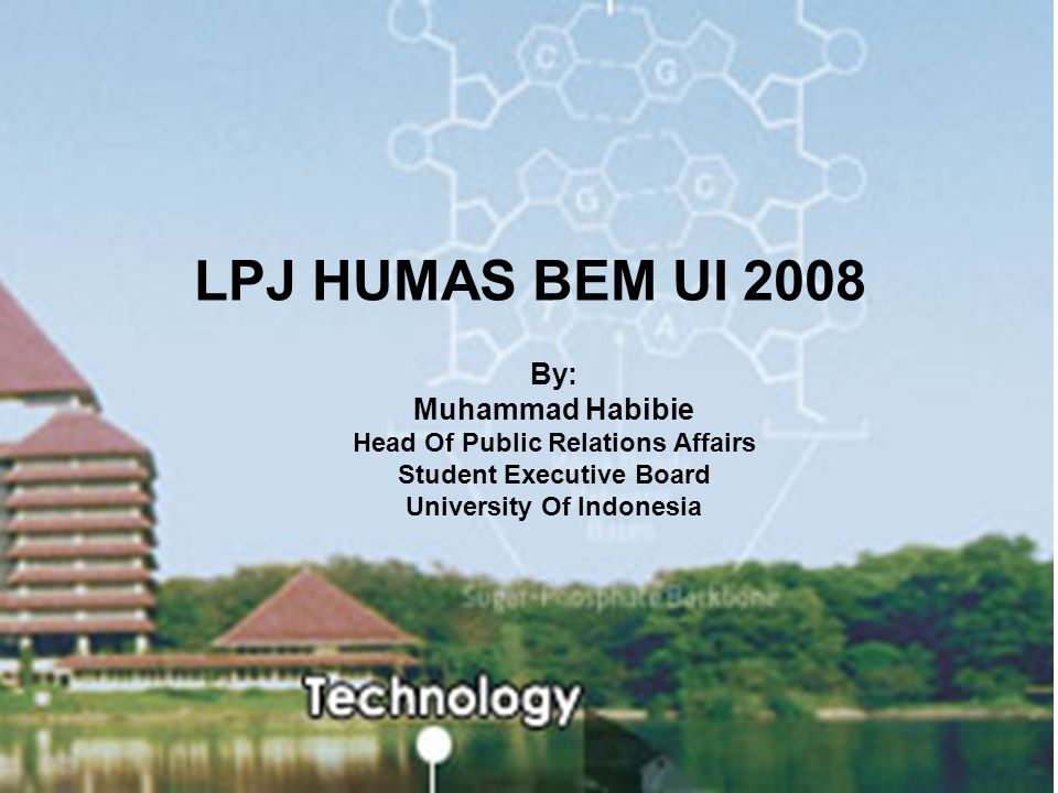LPJ HUMAS BEM UI 2008 By: Muhammad Habibie Head Of Public Relations Affairs Student Executive Board University Of Indonesia.