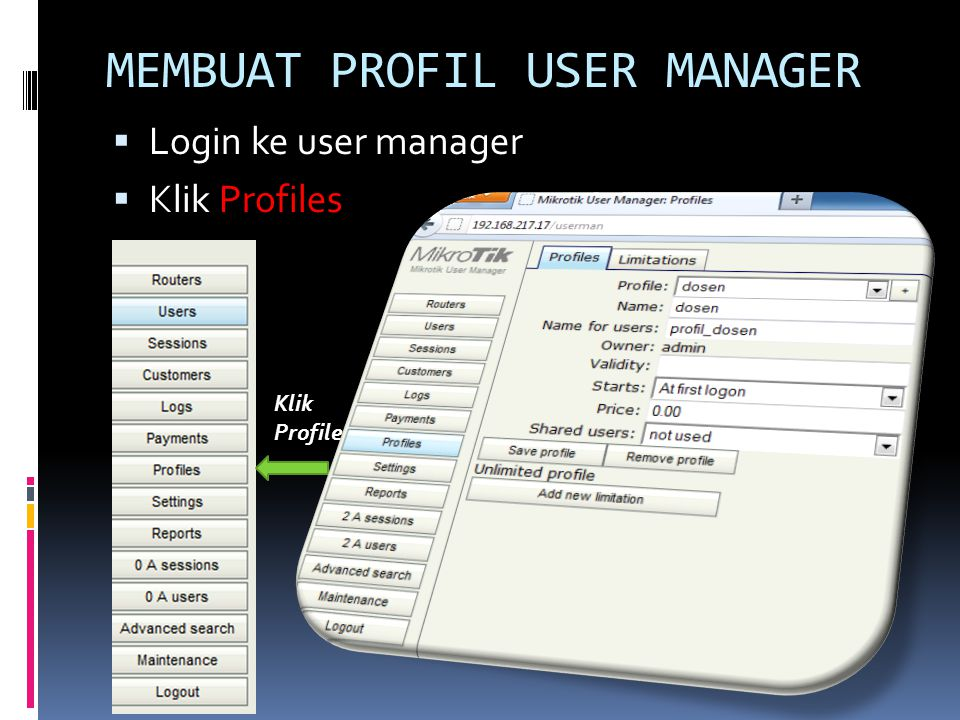 MEMBUAT PROFIL USER MANAGER