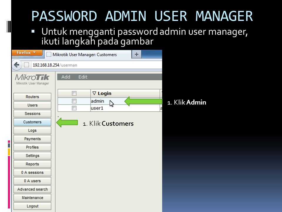 PASSWORD ADMIN USER MANAGER